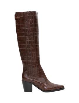 Ganni Mock Croc Western Boots by Ganni
