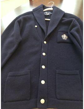 Ralph Lauren Large Navy Blue Wool Button Up Cardigan Sweater Blazer by Ralph Lauren