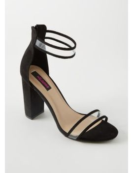 Black Faux Suede Clear Strap Heels by Rue21