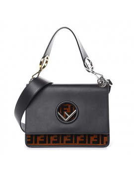 Fendi Calfskin Kan I F Logo Shoulder Bag Black by Fendi