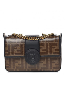 Fendi Zucca Spalmati Mini Double F Crossbody Bag Tobacco Black by Fendi