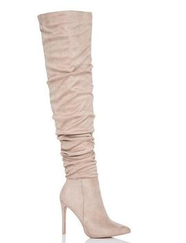 Nude Faux Suede Over The Knee Heeled Boots by Quiz