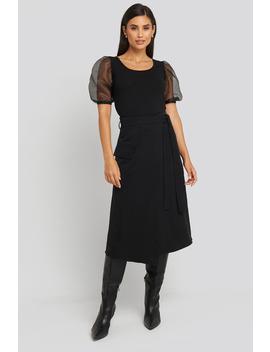 Waist Binding Overlap Midi Skirt Black by Trendyol