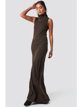 Maxi Polo Rib Dress Brown by Na Kd Trend