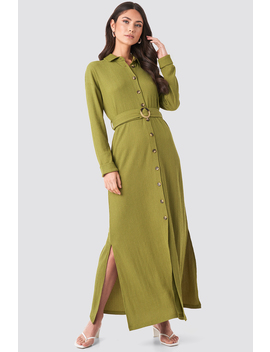 Belted Shirt Maxi Dress Green by Na Kd
