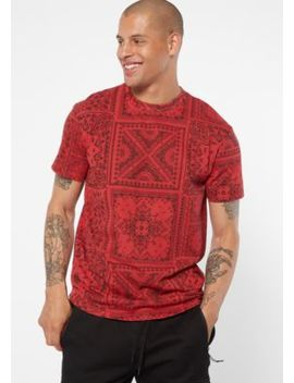 Red Paisley Bandana Print Crew Neck Tee by Rue21
