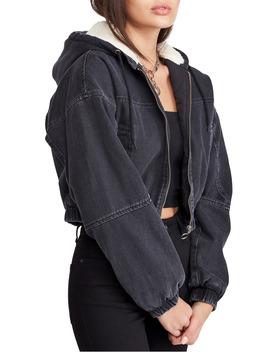 Urban Outfitters Fleece Hood Crop Denim Jacket by Bdg