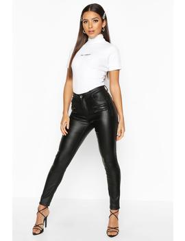 Zip Front Coated Skinny Jean by Boohoo