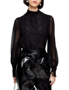 Petite Idol Embroidered Cutwork Blouse by Topshop