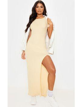 Stone Brushed Rib Short Sleeve Split Hem Maxi Dress by Prettylittlething
