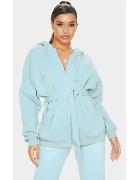 Mint Belted Hoodie by Prettylittlething