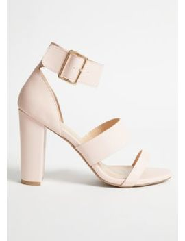 Pink Faux Leather Triple Strap Heels by Rue21