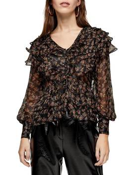 Floral Glitter Ruffle Blouse by Topshop