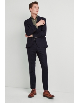 Moss London Premium Skinny Fit Navy Olive Windowpane Suit by Moss Bros