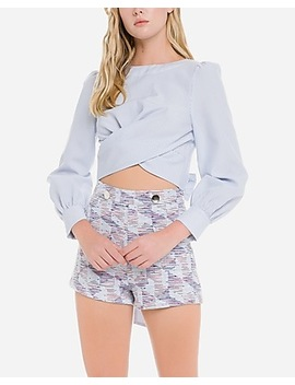 English Factory Striped Tie Back Cropped Top by Express