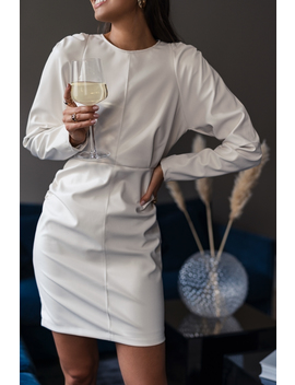 Puff Sleeve Soft Pu Dress White by Na Kd Trend