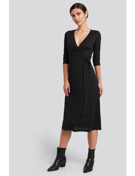 Overlap Detailed Midi Dress Black by Trendyol