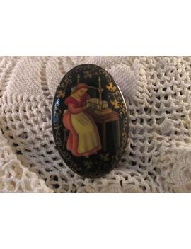 Russian Black Lacquer Pin, Hand Painted, Woman Bookbinder, Limited by Etsy
