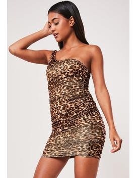 Beige Leopard Print Slinky One Shoulder Ruched Bodycon Mini Dress by Missguided