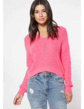 Neon Fuchsia High Low Pointelle Sweater by Rue21