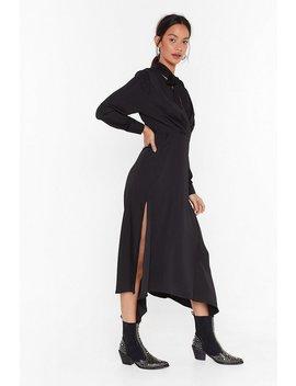 Good In Good Tie Satin Midi Dress by Nasty Gal