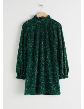 Balloon Sleeve Sequined Mini Dress by & Other Stories