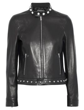 Embroidered Studded Leather Jacket by Red Valentino