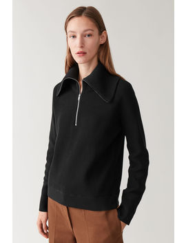 Zip Up Organic Cotton Sweater by Cos