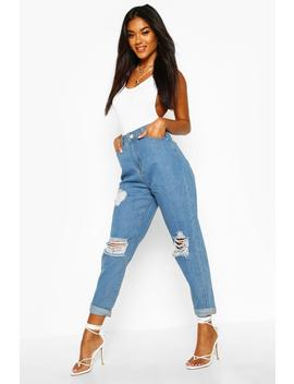 Mid Rise Super Distressed Boyfriend Jeans by Boohoo