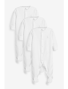 White 3 Pack Gots Organic Cotton Sleepsuits (0 18mths) by Next