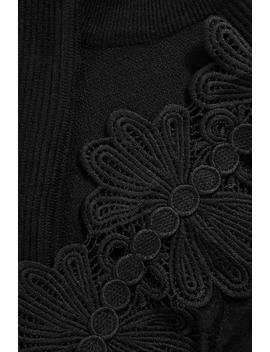 Petite Black Knitted Crochet And Mesh Jumper by Quiz