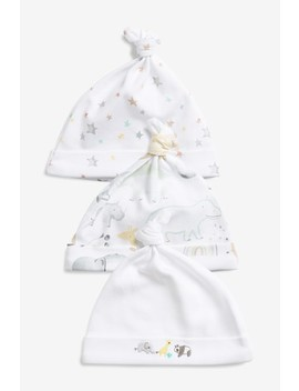 White 3 Pack Gots Organic Cotton Watercolour Embroidered Tie Top Hats (0 12mths) by Next