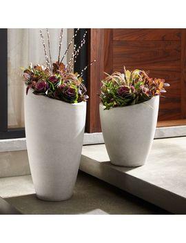 Slant Light Grey Planters by Crate&Barrel
