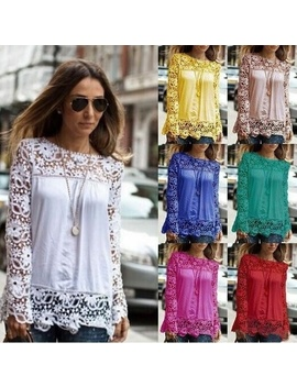 Lover Beauty Womens Lace Floral Chiffon Blouses Crochet Haut Dentelle Renda Mujer Tops Blusas Shirts De Femininas Camisete Plus Size by Wish