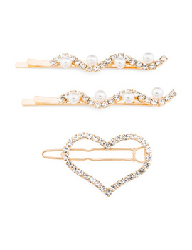 Heart Pin With 2 Wave Barrettes by Tj Maxx