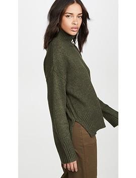 Side Slit Mock Neck Sweater by Frame