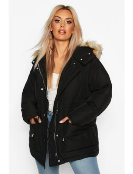 Plus Faux Fur Hooded Drawstring Puffer Parka Coat by Boohoo
