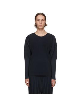 Navy Basics Long Sleeve T Shirt by Homme PlissÉ Issey Miyake