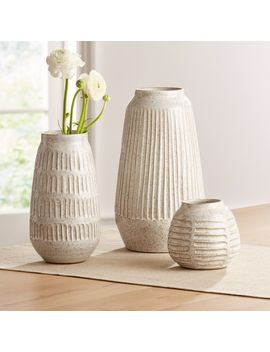 Mara Cream Vases by Crate&Barrel