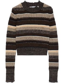 Ribbed Striped Wool, Cotton, Yak And Cashmere Blend Sweater by Helmut Lang