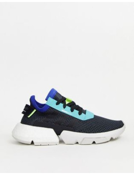 Adidas Originals Pod Trainer In Black And Yellow by Adidas