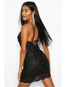 Mesh Lace Detail Strappy Back Mini Dress by Boohoo