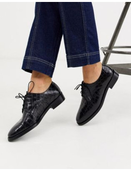 &Amp; Other Stories Leather Mock Croc Brogues In Black by & Other Stories