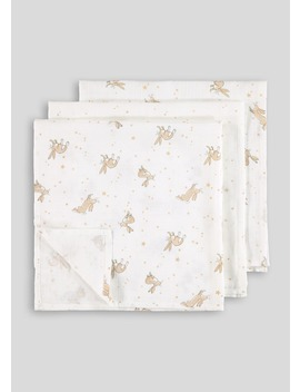 3 Pack Guess How Much I Love You Muslin Cloths by Matalan