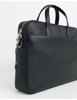 Boss Crosstown Leather Document Laptop Bag In Black by Boss