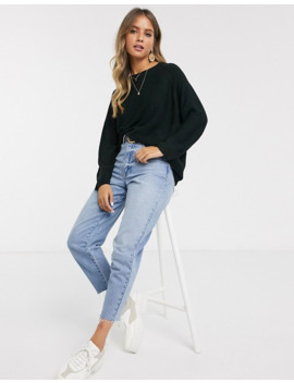Jdy Ribbed Jumper With Crew Neck In Black by Jdy's