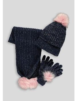 Girls Bobble Hat Scarf & Gloves Set (7 13yrs) by Matalan