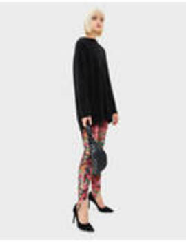 Floral Velvet Leggings by Bershka