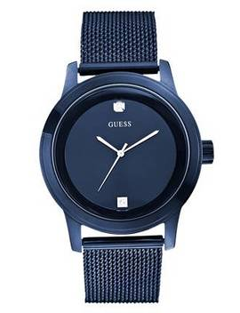 Blue Round Diamond Mesh Watch by Guess
