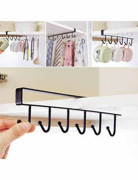 <Span><Span>6 Hooks Mug Cup Under Shelf Hanger Storage Rack Kitchen Cupboard White / Black </Span></Span> by Ebay Seller